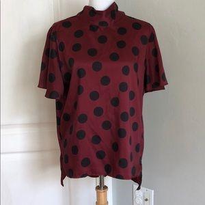Zara burgundy with black polka dot blouse